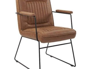 GT Chair in Sand Faux Leather with Black Sled Base