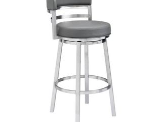 Armen Living Madrid Contemporary Stool in Brushed Stainless Steel Finish and Grey Faux Leather- Retail:$287.49