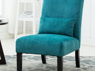 Roundhill Pisano Fabric Armless Contemporary Accent Chair with Kidney Pillow, Teal