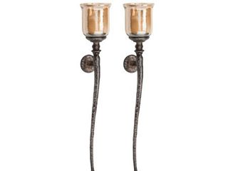 Set of 2 Traditional 34 Inch Wall Mounted Candle Holders Retail 134 49