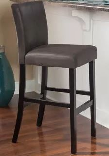 Faux Leather Bar Stool Charcoal Bar Height