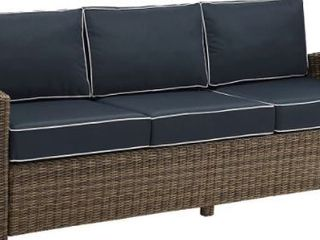 Crosley Furniture Bradenton Outdoor Wicker Couch(Note Cushions are Orange NOT Blue)