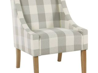 Modern Swoop Accent Chair Gray Plaid   HomePop