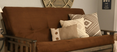 Somette Full size Futon Mattress Suede Brown