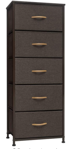 Crestlive Products Vertical Dresser Storage Tower Black Metal with Wood Top Retail:$89.99