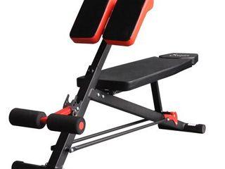 Soozier Folding Black and Orange Steel Adjustable Hyper Extension Bench Multi-function Workout Press