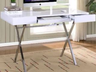 Contemporary Style With Chrome Finish Legs Home & Office Desk (White)
