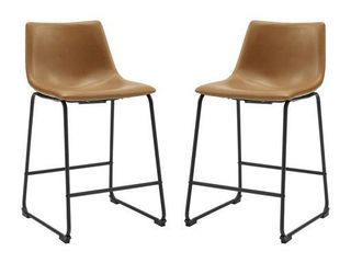 "26"" Faux Leather Counter Stool 2 pack - Whiskey Brown"