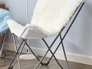 Oversized Butterfly Chair   Mega Furry Plush White color gray base