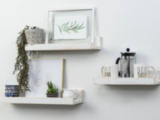 Rustic Luxe 7 in. Depth White Pine Wood Floating Decorative Wall Shelf Set