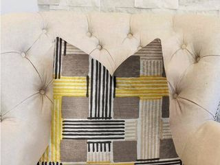 Plutus Hummingbird Isle Yellow  Beige and Gray luxury Decorative Throw Pillow  Retail 135 99