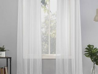"Pair of 63""x59"" Emily Sheer Voile Grommet Top Curtain Panels White - No. 918"