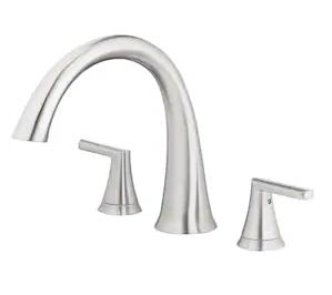 Jacuzzi Lauren Brushed Nickel 2-handle Deck Mount Roman Bathtub Faucet