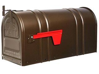 Postal Pro 8 1 2 in x 11 in Metal Antique Bronze Post Mount Mailbox