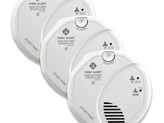 First Alert BRK SC7010BV 3 Hardwired Smoke and Carbon Monoxide  CO  Detector with Talking Photoelectric Sensor  3 Pack