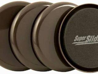 Super Sliders 4-Pack 3-1/2 Round Non-Adhesive Backed Reusable Plastic Carpet Slider