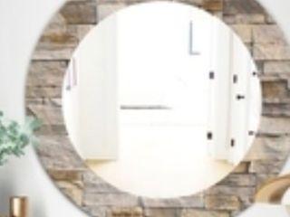 design art stone 1 modern mirror round wall mirror 31 in wide 31 in high round