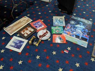 lot Of Assorted Baseball Memorabilia  Ken Griffey Jr Poster   Photographs And More