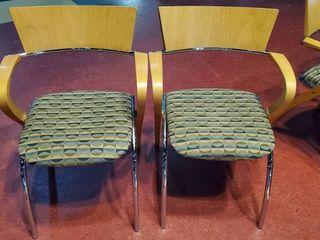 2  Wood Fabric Chairs
