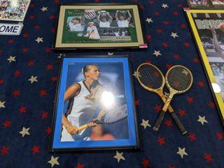 Assorted Tennis Memorabilia  Anna Kournikova Framed Poster  Two Antique Tennis Rackets  And K Swiss Woodies Wimbledon Champs Framed Poster