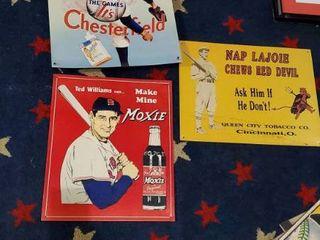 4  Metal Baseball Signs