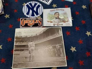 3  Metal Baseball Signs  1 Foam Babe Ruth Picture