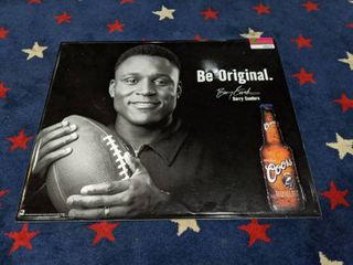 Barry Sanders Coors Tin Poster