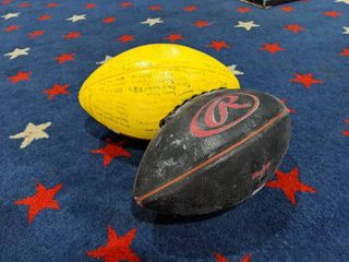 2  Footballs  One Signed By Unknown Players