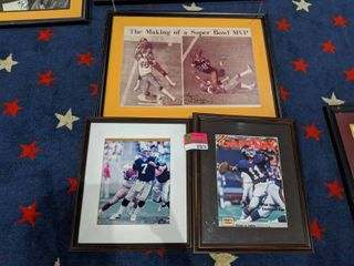 Assorted Football Plaques And Framed Poster