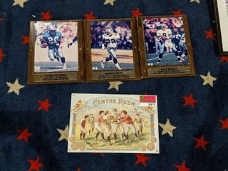 Assorted NFl Player Plaques  One Vintage Style Football Tin Poster
