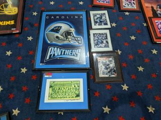 Assorted Framed NFl Posters  Some Are Signed