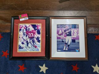 2  Framed NFl Posters  One Is Signed