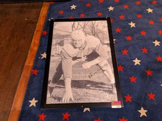 Framed Football Posted  Signature Is A Print