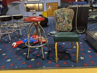 2  Chairs  One Red Stool One Enamel and Embroidered