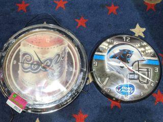 2  Analog Clocks  One Carolina Panthers  One Coors