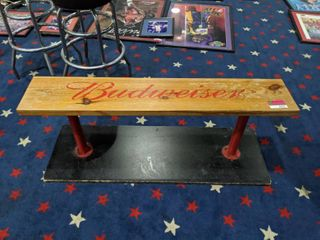 Budweiser Wooden Bench With Base
