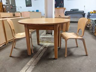 Wooden Children s Table With Two Matching Chairs