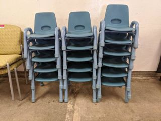 16  Plastic Kids Chairs  Assorted Sizes