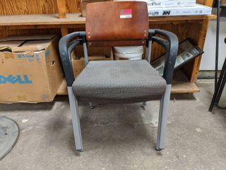 2  Cushioned Wood Back Office Chairs