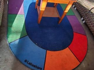 Wood Side Table With Colorful Rug
