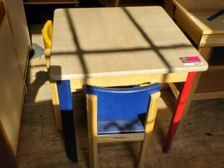 Children's Wood Table With 2 Chairs