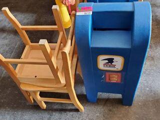 Plastic U.S. Mail Box, 2 Kids Chairs