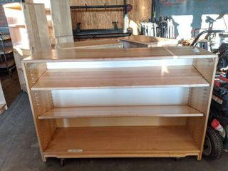 (3) Wooden Shelving Units, On Casters