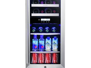 Titan 15 8 Bottle 44 Can Dual Zone Wine and Beverage Cooler   Stainless Steel  Retail 948 49