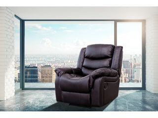 Brenda Brown Faux leather Modern Style Heated Vibrating Massage Recliner  Retail 459 99
