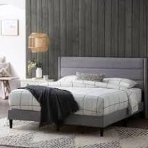 brookside Sara upholstered bed triple lined platform bed king grey
