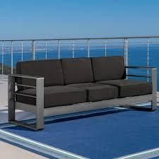Cape Coral Outdoor Aluminum Cushioned Sofa Couch by Christopher Knight Home  Retail 577 99
