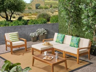 Grenada Outdoor 4 Seater Acacia Wood Sectional Sofa Set by Christopher Knight Home Retail  942 69