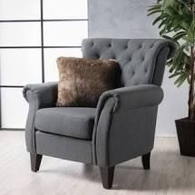 Merritt High Back Tufted Fabric Club Chair by Christopher Knight Home   Dark Grey Retail  395 99