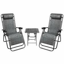 Havenside Home Amutu 3 piece Zero Gravity Chair Chair and Table Set